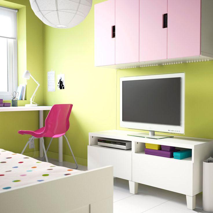 mueble de tv best blanco con cajones y armarios de pared stuva blancos con puertas rosas