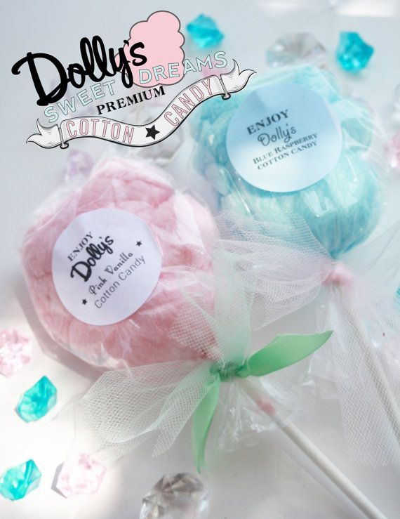 30 Cotton Candy Lollipops with custom labels by Dollyscottoncandy