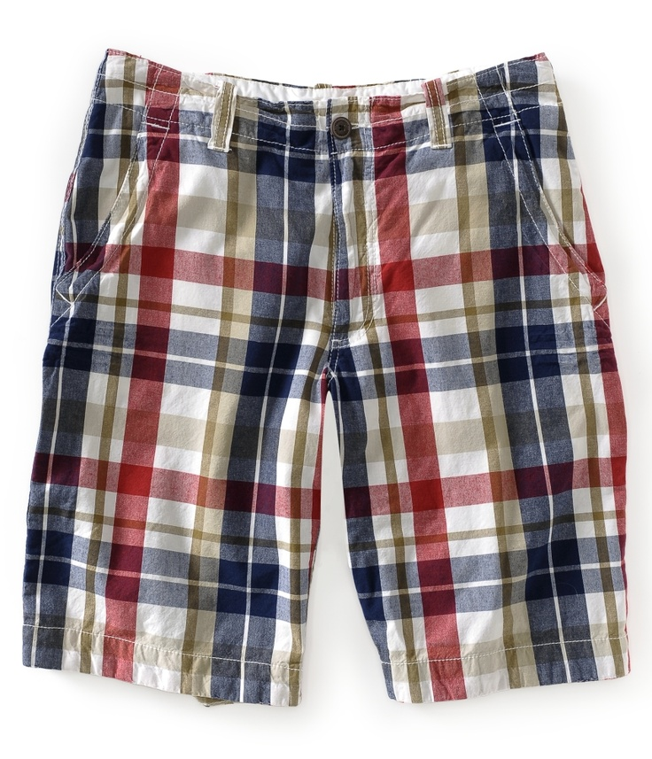 aeropostale mens classic red plaid flat-front shorts