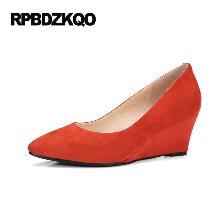 >> Click to Buy << Office Small Size Suede Orange Pumps Shoes 33 Discount High Heels Ladies Ivory 4 34 2017 Wedge Pointed Toe Pumps Slip On Autumn #Affiliate