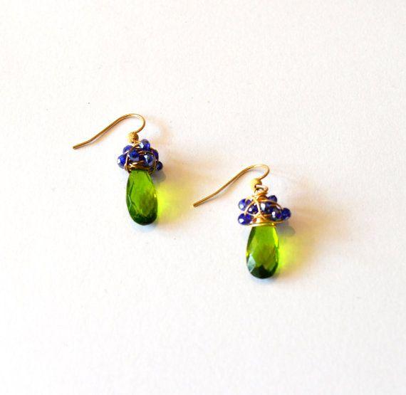 Blaue Golddraht Wrap Ohrringe grün / blauen Kristall Ohrringe
