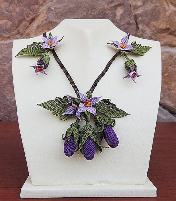 "Authentic Anatolian Needle Lace Pure Silk ""Patlican"" Necklace"