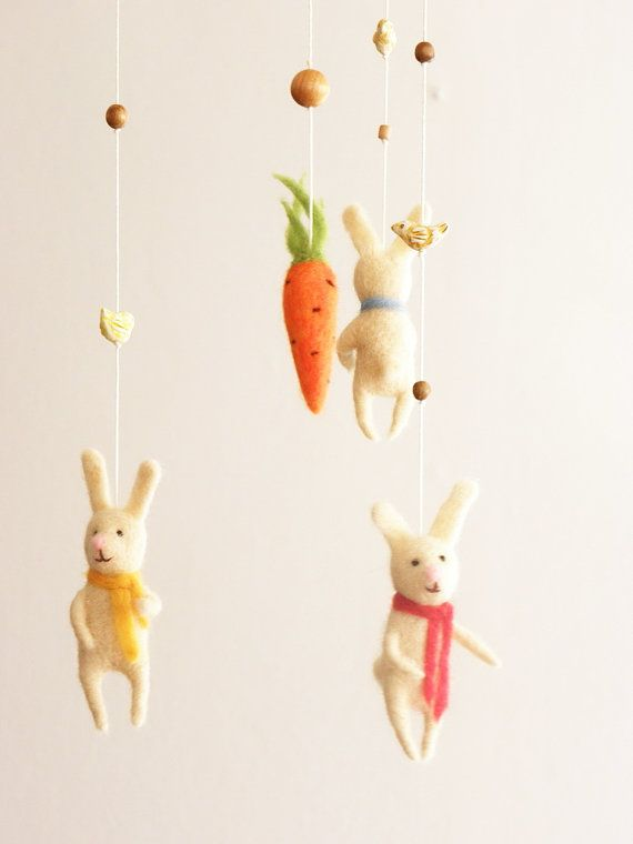 Bunny Mobile for baby needlefelted bunny nursery by FeltPetsShop