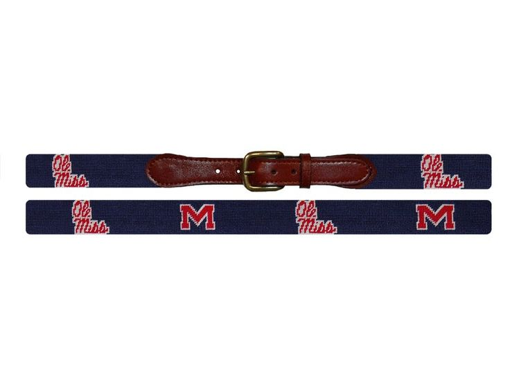 """Ole Miss University Needlepoint Belt in Navy and Crimson by Smathers & Branson. This belt, which displays alternating Ole Miss """"M"""" and script logos, is a must have for the Ole Miss faithful, and makes an ideal graduation present! #OleMiss #belt #preppy #SmathersBranson http://www.countryclubprep.com/ole-miss-university-needlepoint-belt-in-navy-and-crimson-by-smathers-branson.html"""