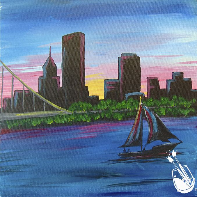 """""""Sailing Pittsburgh"""" 🎪 [NEW ART] 🎪  Is your #summer is full of fun activities and pretty sights. #Paintingwithatwist #paintandsip #chicago #navypier #painting #balloons #birds #sailboats #boating #festival"""