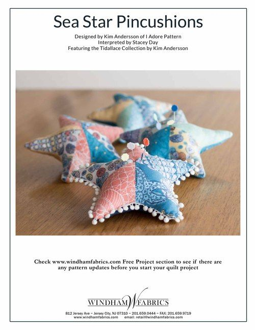 Free pattern pdf - Sea Star Pincushions and Pillow by Kim Andersson of I Adore Pattern and Stacey Day