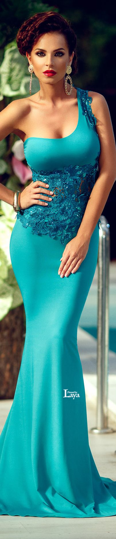 ✿Atmosphere Fashion✿ blue maxi one shoulder dress.  women fashion outfit clothing stylish apparel @roressclothes closet ideas
