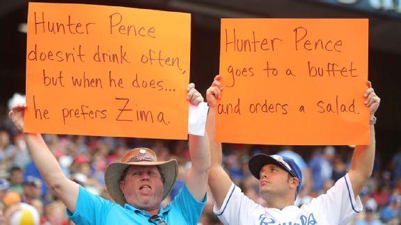 hunter pence hecklers holding oragne signs