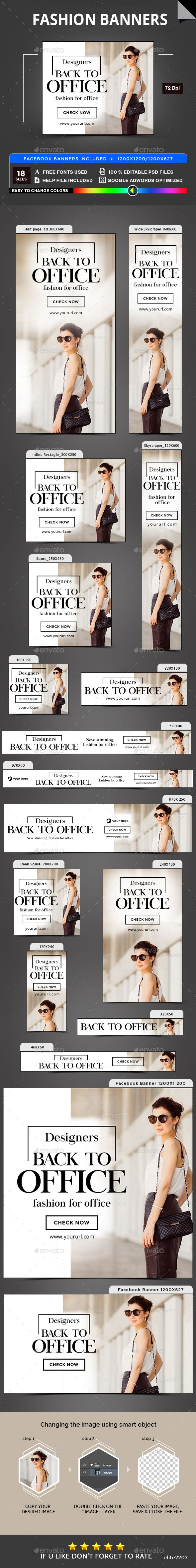 Fashion Banners - #Banners & #Ads #Web Elements Download here: https://graphicriver.net/item/fashion-banners/19753975?ref=alena994