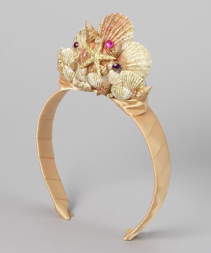 "Tiara para disfraz de ""La Sirenita"" - Gold & Ivory Mermaid Seashell Tiara"
