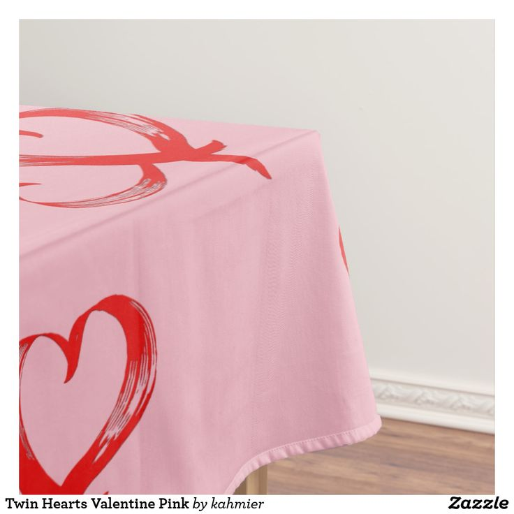Twin Hearts Valentine Pink Tablecloth