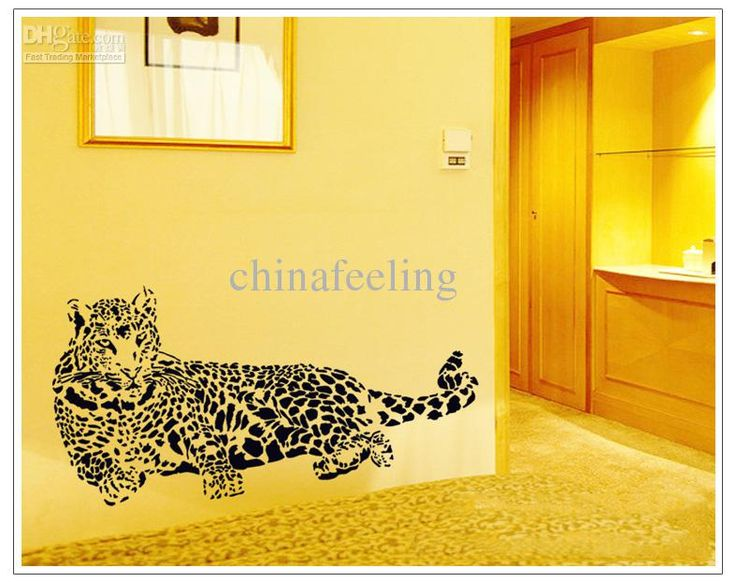 Wholesale Black Cheetah Leopard Wall Sticker Black Jungle Cat Removable Wall  Paper Cheetah Car Sticker 6090cm