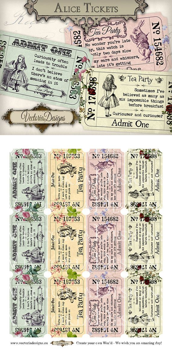 Colored Alice in Wonderland Tea Party Invitation Tickets printable images digital collage sheet VD0590