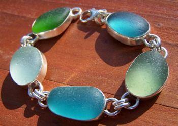 A stunning ocean colors bracelet - for sale on my website: www.santacruzseaglass.com