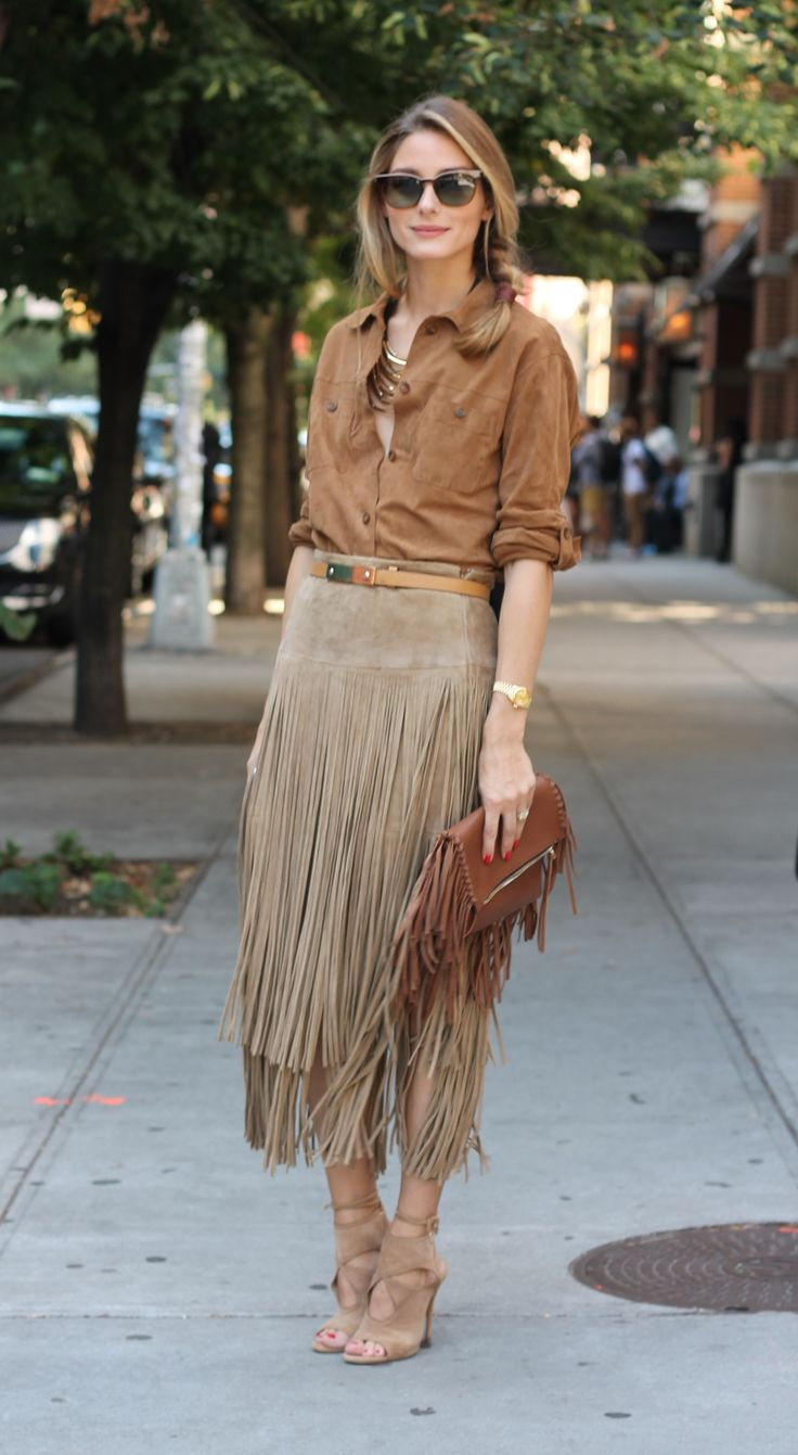To continue my fashion week diary, for look three I'm wearing one of my favorite trends for fall, leather fringe.  Here I am before the Rachel Zoe presentation wearing a Michael Kors skirt, with a Gerard Darel suede blouse with a Witchery layered necklace, Carolina Herrera handbag, Aquazzura heels and a Mulberry belt.
