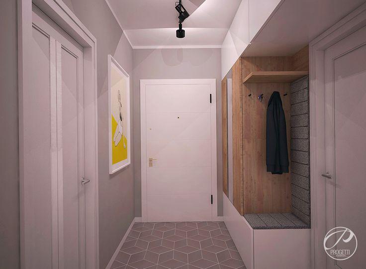 Kolor w mieszkaniu. Projektowanie mieszkań Warszawa.  Hol. Optycczne powiększenie niewielkiej przestrzeni uzyskano poprzez zastosowanie koloru białego oraz płytki podłogowe, dające efekt trójwymiarowości.  | Progetti Architektura