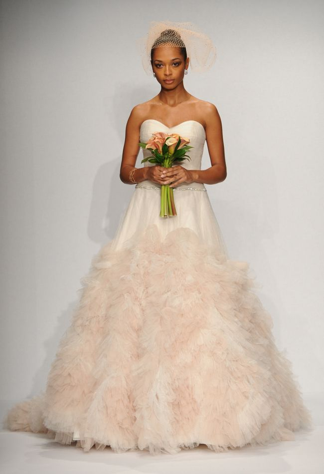 Wtoo Brides Spring 2014 Wedding Dresses  African American Bride, Black Bride; peach wedding dress; bride of colour; peach flowers calalilies