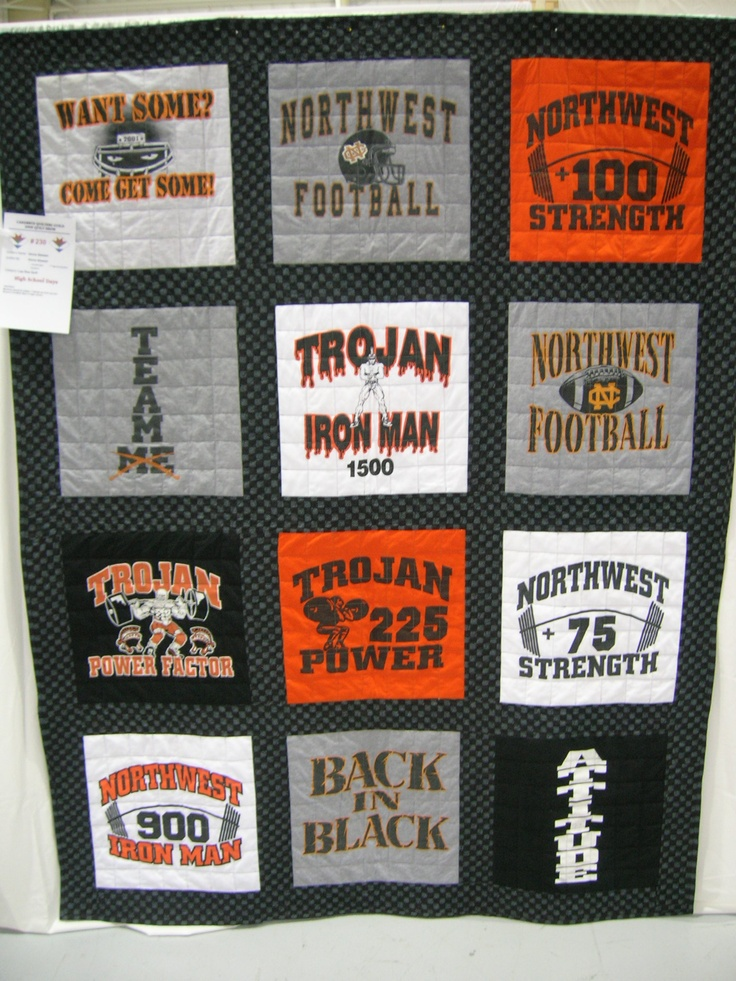 My son's high school t-shirt quilt.