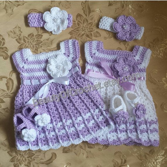 Newborn Twins Crochet Outfit Baby Girl Clothes Dress
