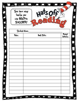 Generic Dr. Seuss reading log that younger students can use to keep track of how many books their reading!  This simplistic log has students/parents document:  1) Book Title 2) Date Read 3) Parent Initials (for confirmation)  Perfect for younger elementary grades that are trying to get students to read as much as they can at home!