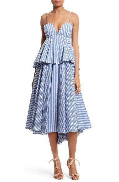 Milly Melody Peplum Midi Dress available at #Nordstrom