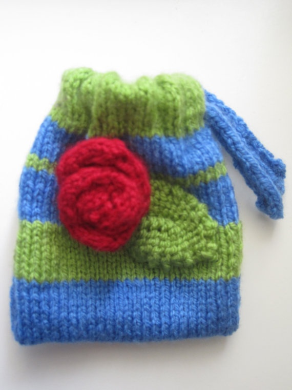 Green and blue knitted drawstring bag with a by BagsofCuriosity, £4.99
