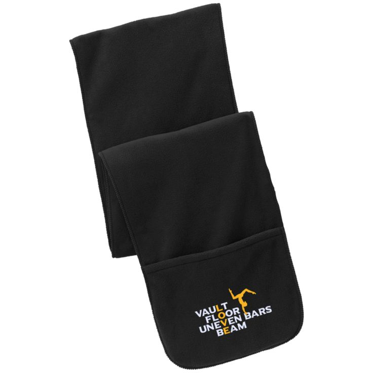 Vault, Floor, Uneven Bars, Beam - Love Gymnastics - Embroidered Scarf with Pockets! Stay warm with this unique embroidered scarf. Available here - http://diversethreads.com/products/love-gymnastics-embroidered-scarf-with-pockets?variant=10595489669