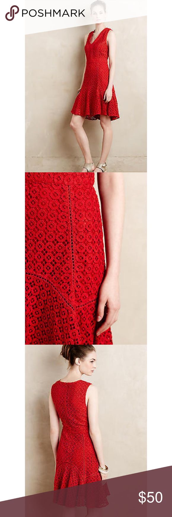 San & Soni Dress from Anthropologie Red Doily designt dress Wore it once to a wedding. It is red but I would say the dress isn't as red as it appears in the photos with the middle. The actual color is more of a red/orange or a brighter red, no a deep red. Anthropologie Dresses Midi