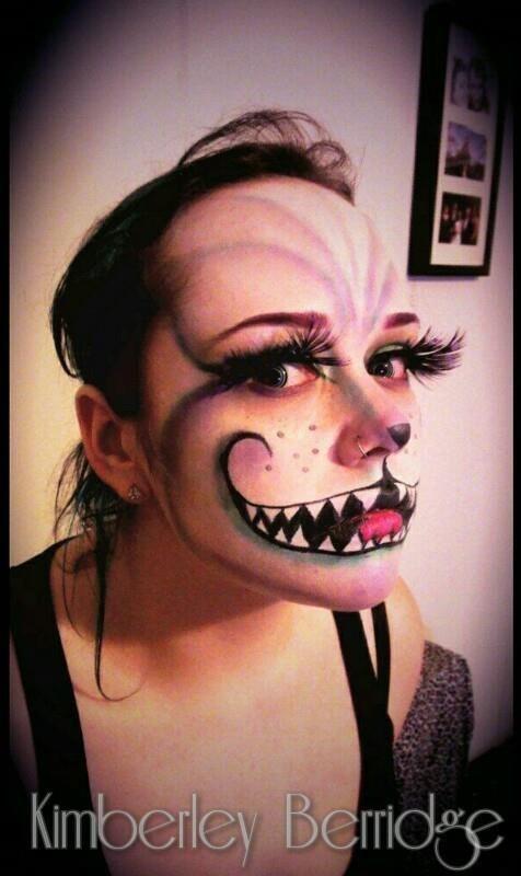https://www.facebook.com/KimberleyBerridgeMakeupArt  Cheshire Cat Make-up Halloween Make-up Massive Lashes! Alice in Wonderland
