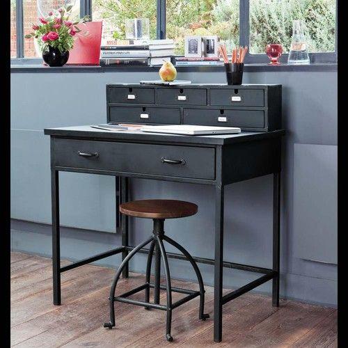 Zwarte metalen industriële schrijftafel met verweerd effect B 89 cm