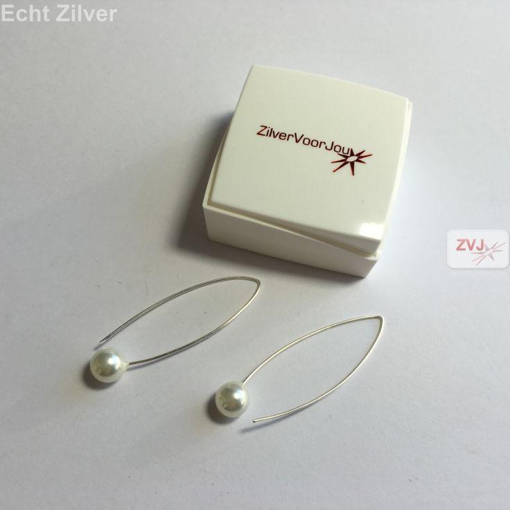 Zilveren witte parel oorbellen hangers grote haak €11.95 inclusier verzenden - ZilverVoorJou Echt 925 zilveren sieraden
