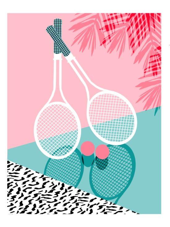 Sportin' - retro minimal pastel neon throwback memphis style pop art tennis sport court player Art Print