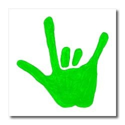 Love Hand Sign Language in Green