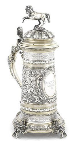 Dutch Parcel Gilt Silver Baroque Tankard 19th C. Inscribed Ludwig Heck Germany