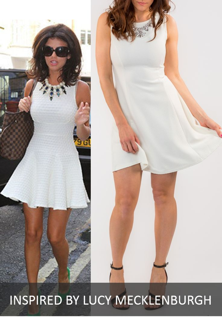 LUCY WHITE SKATER DRESS WITH NECKLACE BY GIRL VS FASHION