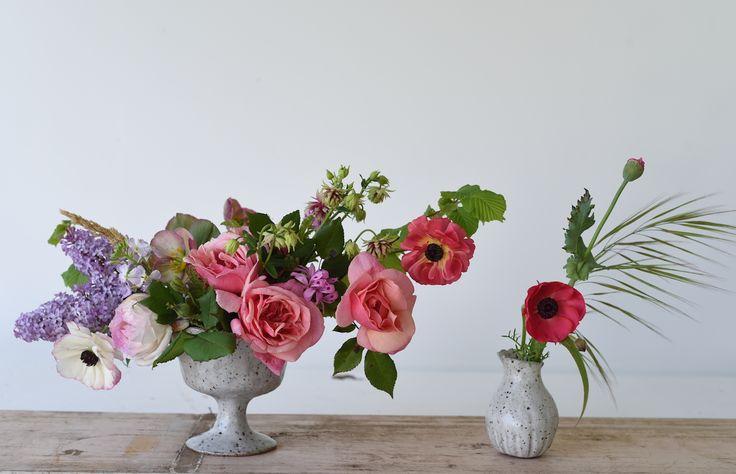 Roses, Columbine, Ranunculus, Lilac, Spring Flowers, Centrepiece, table flowers, ceramic vases, October, pink, white