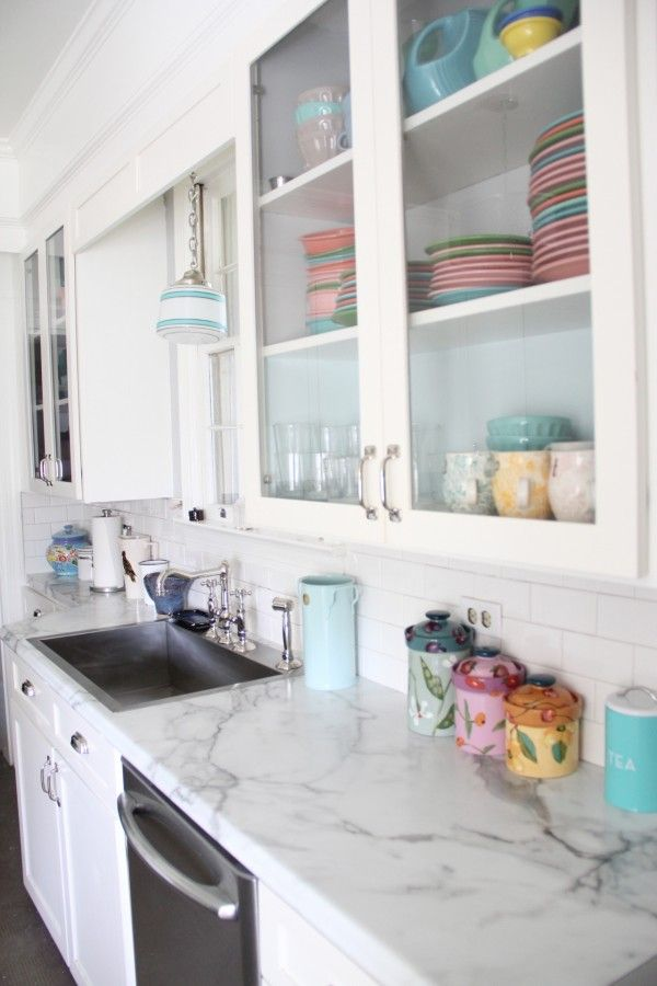 Superb Budget Kitchen Makeover   Faux Marble Countertops Replaced The Old Cabinet  Doors