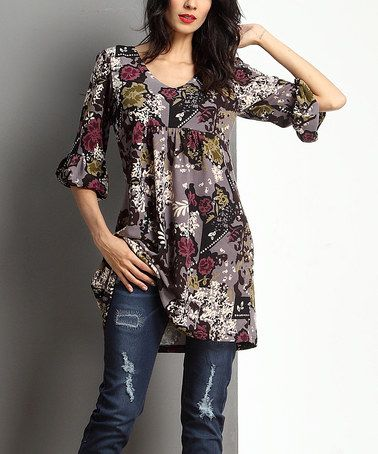 Look at this #zulilyfind! Charcoal Floral Empire-Waist Puff-Sleeve Tunic #zulilyfinds