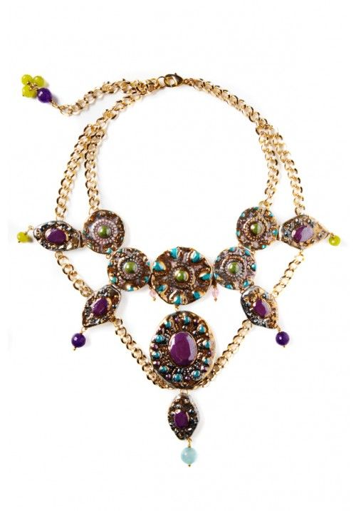 ART BY MISBAH - Purple Stones Statement Necklace