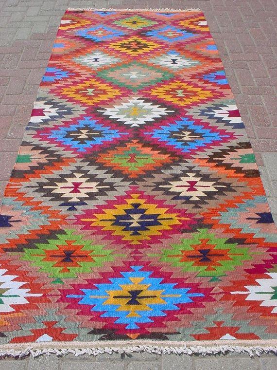 "Modern Bohemian Home Decor, Vintage Handwoven Wool Turkish Runner Kilim Rug Carpet 40,9"" X 105,5"""