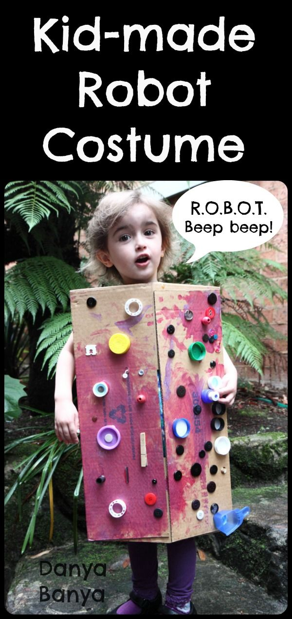 Kid-made robot costume using cardboard box and bottle caps!