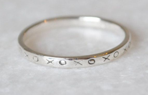 Minimalist X XO Midi Stacking Ring In Sterling by ShopZYLA