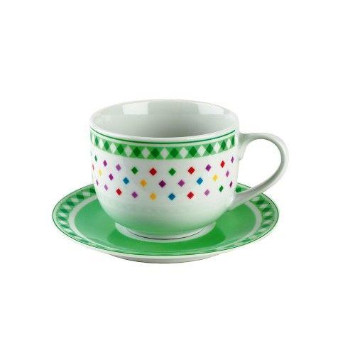 Confezione . 2 tazza colazione con piatto  Composto da: Nr 2 Tazza latte con piatto cc 500