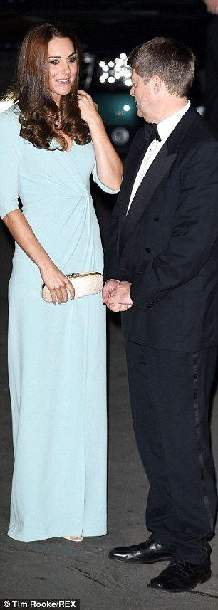 The Duchess pictured as she is welcomed to the Natural History Museum this evening