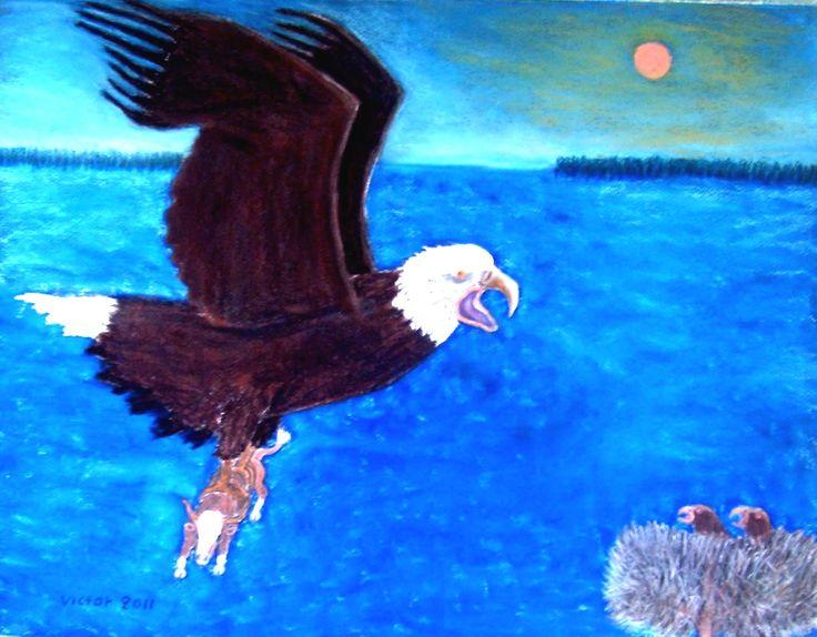 Jätteörnen har fångat kon, pastell. The giant eagle has caught the cow, pastel.