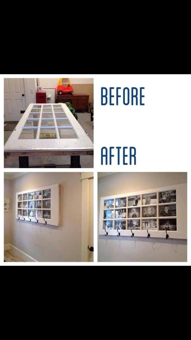 Old door used as a picture frame and coat rack!