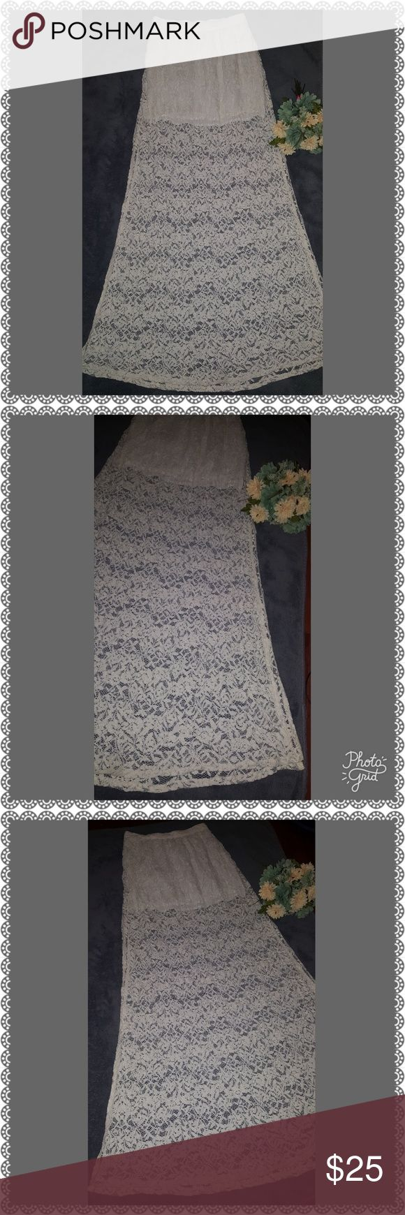 Abercrombie and Fitch Lace Maxi.**Price Reduced** Beautiful off white, lace Abercrombie and Fitch maxi, double split, with a shorter linen material attach slip, super pretry and versatile, both dressy and casual. Abercrombie & Fitch Skirts Maxi
