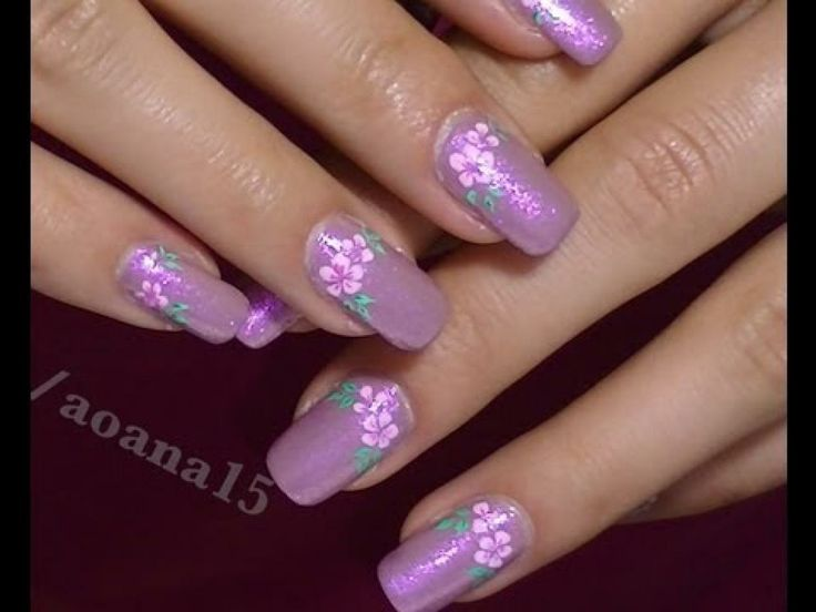 flower nail art designs | ... Pink Flower video nail art design tutorial ,Hand painted flower
