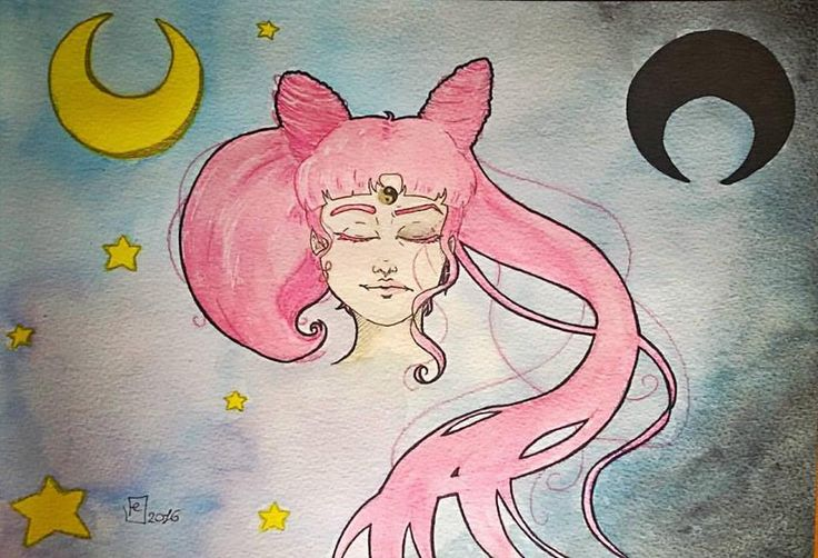 For Love and Justice, an apprentice to a pretty sailor suited soldier, Sailor Chibi Moon! In the name of the future moon I will punish you!  #sailormoon #chibiusa #sailorchibimoon #sailorchibiusa #blacklady #fanart #watercolor