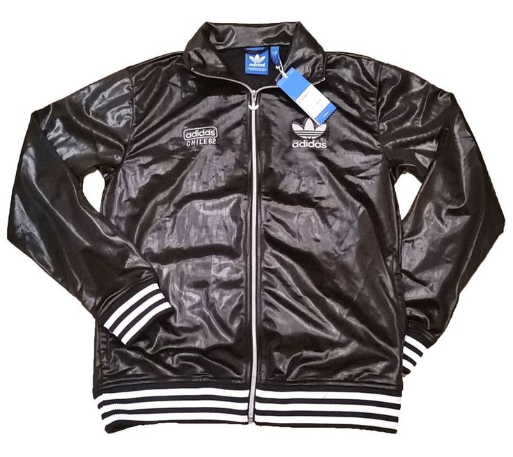 Adidas Originals Chile 62 Rib Black Silver Mens Jacket Track Top XS S